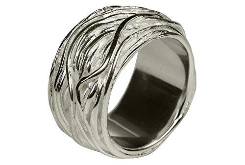 SILBERMOOS Damen Ring Herren Ring massiv glänzend Wickelring Sterling Silber 925, Größe:62 (19.7)