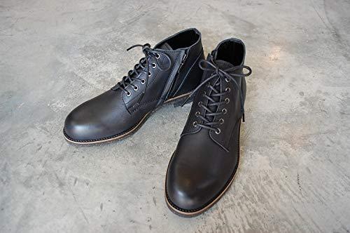 [PADRONE] パドローネ チャッカ ブーツ with サイドジップ ブラック 42 (27cm-27.5cm) [PU7358-1222-16A]