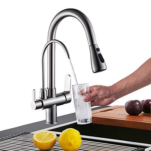 Onyzpily Gebürstetes Nickel Reines Wasser Küchenarmatur mit ausziehbar Doppelgriff Heißes und kaltes Trinkwasser 3-Wege-Filter Küchenmischbatterien