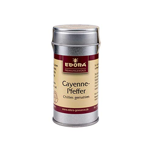 Premium Qualität Gewürz EDORA Streudose Streuer Cayenne Pfeffer Chilis gemahlen 30 Gramm Schärfegrad 5 = 19.000 Scoville Units