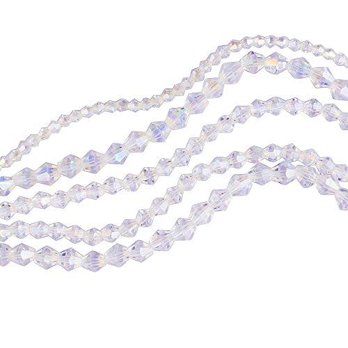 300 pièces : Perles toupies bicônes à facettes en cristal AB transparent de 4 mm, 6 mm et 8 mm.
