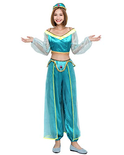 GEIUEIMAN Vestito di Halloween Costume di Halloween Costume da Principessa araba Costume da danzatrice Indiana Bicolore Costume da Danza del Ventre Sexy