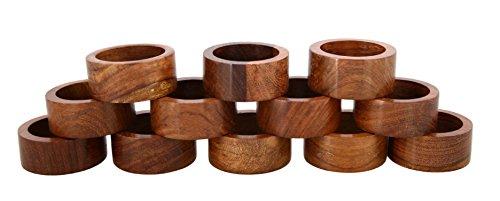 Ajuny Set mit 12 handgefertigten dekorativen Holzringen für Dinner-Party, Tischdekoration, 3,8 cm