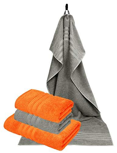 Lashuma 4 x handdoeken in set, 2 stuks. Fitness handdoeken 50 x 100 cm - 2 stuks badhanddoeken 70 x 140 cm, kleur: oranje - steen grijs