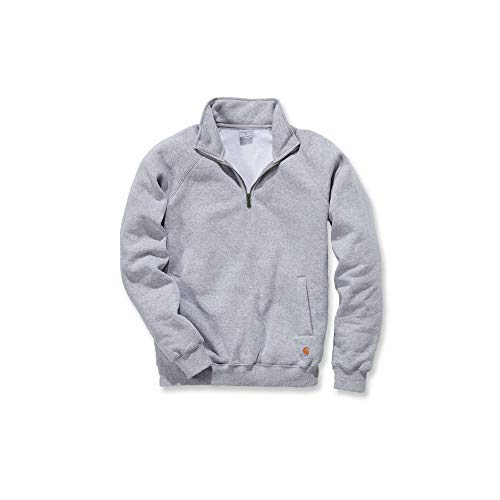 Carhartt Midweight Quarter Zip Mock Neck Sweatshirt - Arbeitspullover Herren, Heather Grey, Gr. S