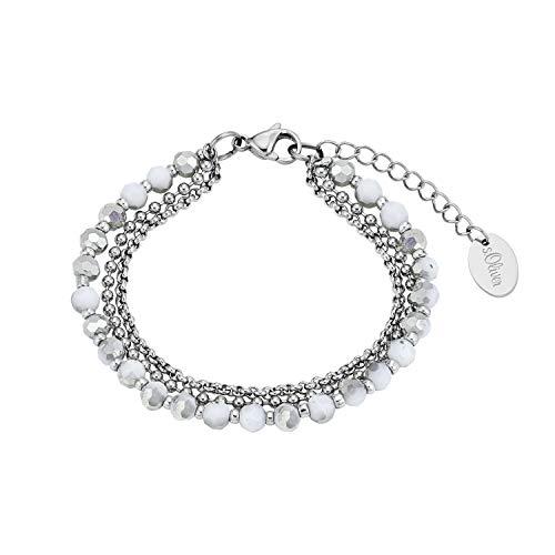 s.Oliver Mehrreihige Gliederarmkette für Damen, Edelstahl, Glas