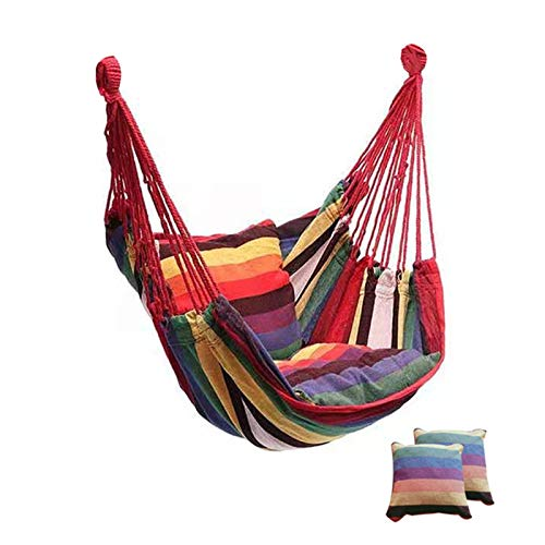 DANYIN Portable Hammock Chair Canvas Bed Hammocks Garden Swing Hanging Leisure Lazy Rope Chair Swing Indoor Bedroom Seat Camping (Color : With Pillow)