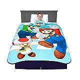 Franco Kids Bedding Super Soft Plush Micro Raschel Blanket, Twin/Full Size 62' x 90', Mario