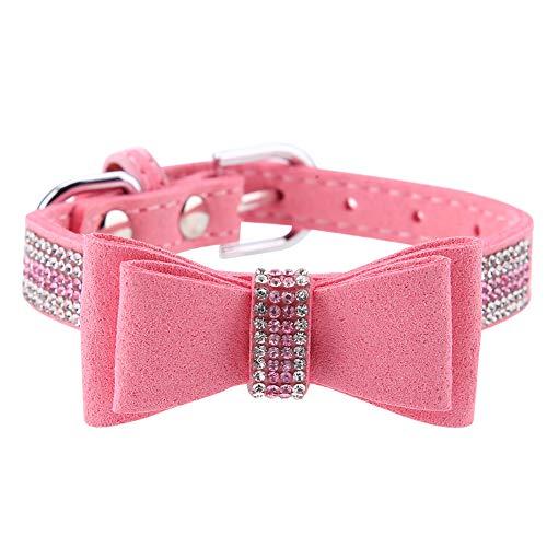 wxf Hebilla Ajustable Rhinestones Pet Collar con Corbata De Nudo De Proa para Fiesta De Cumpleaños De Fiesta Rosa M