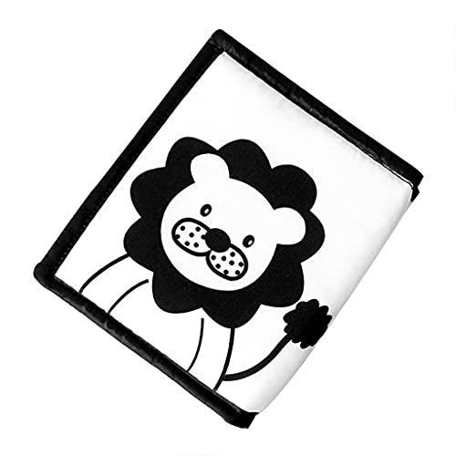 SM SunniMix Libros de Tela, Libros Suaves para bebés, imágenes en Blanco y Negro fomentan el Desarrollo Infantil para bebés y niños pequeños - León