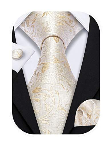 Barry.Wang Cravate en soie pour homme avec mouchoir et boutons de manchette, mariage, affaires, Fleur ivoire., taille unique