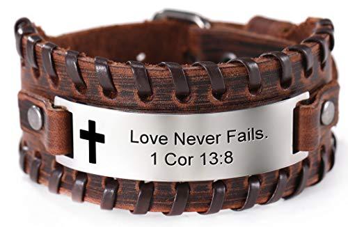 VASSAGO Pulsera de cuero de inspiración de acero inoxidable con cruz, versículo de la Biblia, el amor nunca falla 1 Co 13:8, regalo de aliento de la fe para hombres y mujeres
