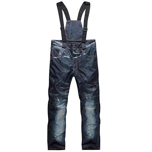 Cowboy Skihose Herren Insulated Ski Snow Pants Warme Verdickte Snowboardhose Jeans Wasserdicht Winddicht Atmungsaktiv und Warm Antistatische Bergsteigerhose 1 Stück,Cowboy1,XXXL