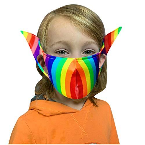 US Stock Fairy Pixie Elf Ears Face_Mask Novelty Unisex Washable Reusable Cloth Face Bandanas for Cosplay Halloween Christmas Any Themed Party