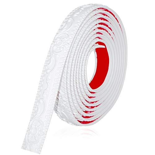 Neatiease Flexible Zierleisten Sparpaket, selbstklebend, 3,8 cm x 4,9 m, zum Abziehen und Aufkleben, Kronenformen, Deckenleiste, Wandverkleidung für Heimdekoration (Weiß)