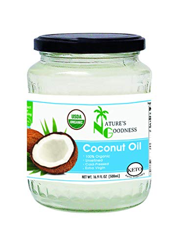 Nature's Goodness Baking Goods - Extra Virgin, Cold Pressed Organic Coconut Oil in Glass Jar, 16.9 Ounce (100% Organic, Raw, GMO free, Vegetarian, Kosher)