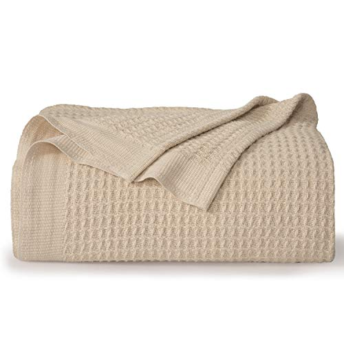 Bedsure 100% Cotton Blankets Queen Size for Bed - Beige 405GSM Waffle Weave Soft Lightweight Thermal...