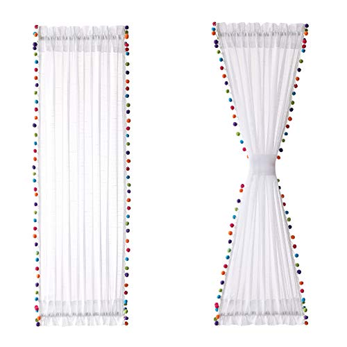"""Treatmentex Sheer Sidelight Door Curtains 40"""" Multi-Color Pom Poms Linen Textured Sheer French Door Panels for Nursery Kid's Room Décor Curtain with Tie Backs 25"""" W x 2 Panels"""