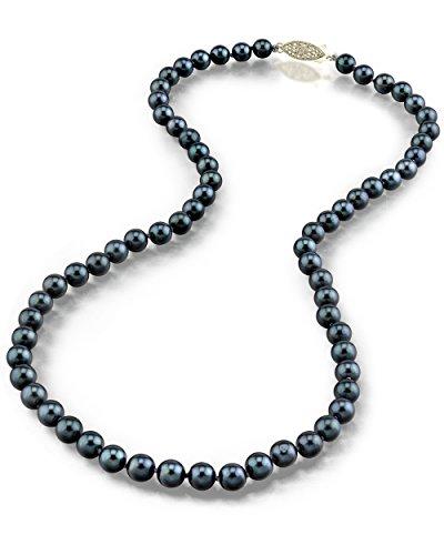 14 K oro, 6 5-7 0 millimeter. Akoya japonés negro collar de perlas cultivada - calidad AAA, 60,96 cm longitud del remolque