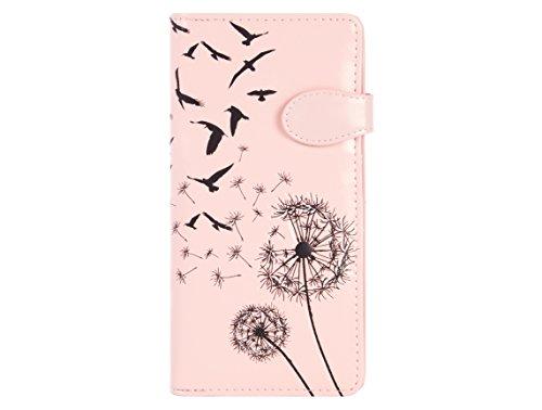 Shagwear ® Portemonnaie Geldbeutel Damen Geldbörse Mädchen   Bifold Mehrfarbig Portmonee Designs: (Pusteblume Pink/Dandelion)