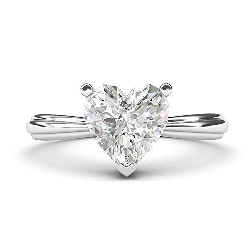 14k White Gold Simulated Heart-shaped Diamond Engagement Ring Raised Shank Promise Bridal Ring (7)