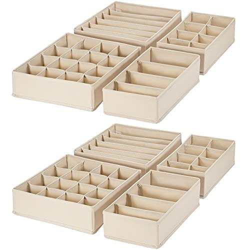 SimpleHome Pure   stabiler Schubladen Organizer aus Sackleinen für Unterwäsche   Beige   Passend für Kleiderschrank Pax   64 x 52 x 10 cm, 8er-Set.