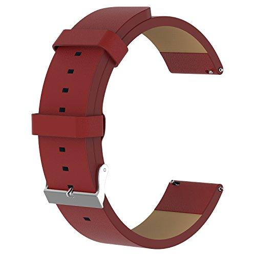 PINHEN Kompatibel für Fitbit Versa Armband - Echtleder Armband mit Schnellverschluss Pin Kompatibel für Fitbit Versa/Versa 2 /Versa Lite/Versa SE (Red)