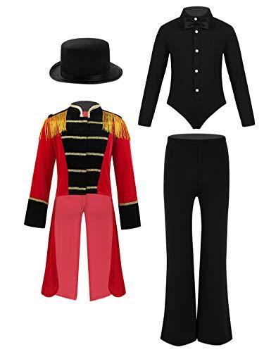 IEFIEL Disfraz de Maestro de Circo Conjuntos de Disfraz de Domadora 5pcs Chaqueta Vintage Pelele Camiseta Manga Larga Pantalónes Largo Sombrero Mago Pajarita Negro+Rojo 8 Years