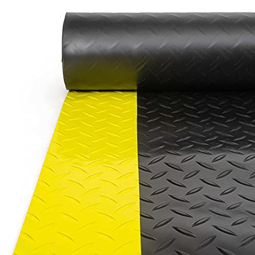 ANRO Alfombrilla de suelo con tiras de advertencia amarillas de 3 mm, PVC, antideslizante, color negro, 120 x 120 cm