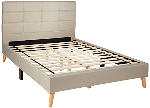Divano Roma Furniture Mid-Century Linen Platform Bed Frame with Pleated Headboard Design (Full, Beige)