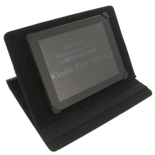 foto-kontor Tasche für Amazon Kindle Fire HD 8.9 Kindle Fire HDX 8.9 Fire HD 10 Book Style Schutz Hülle Buch schwarz