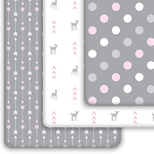 Grow Wild Mini Crib Sheet, Pack N Play Sheets | 100% Cotton Pack and Play Sheets, Fitted for Playard Mattress | Soft Jersey Crib Fitted Sheet and Ideal Pack N Play Sheet | Grey Pink Woodland Deer
