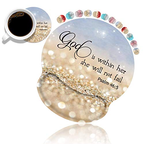 Ergonomic Mouse Pad Wrist Support and Coasters Set, Cute Wrist Rest Pad with Non-Slip PU Base for Home Office Working Studying Easy Typing & Pain Relief, Rainbow Glitter Quote Bible Verse Psalm 46:5