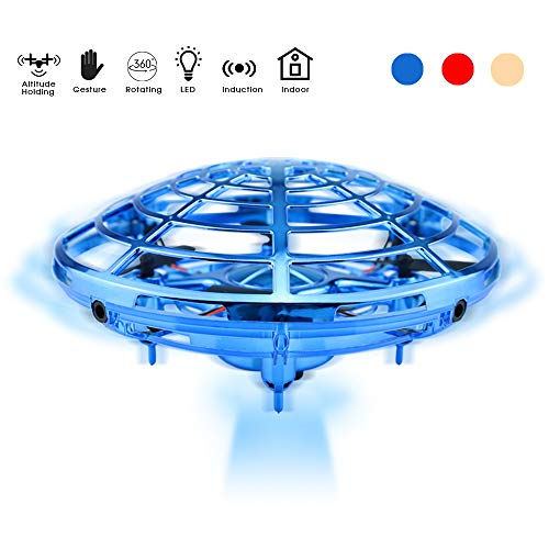 Skynor UFO Mini Flying Drones Induction Toys Flying Ball Hands Controlled with 2 Speed Mode and LED Light, Best for Boys Kids (Blue)