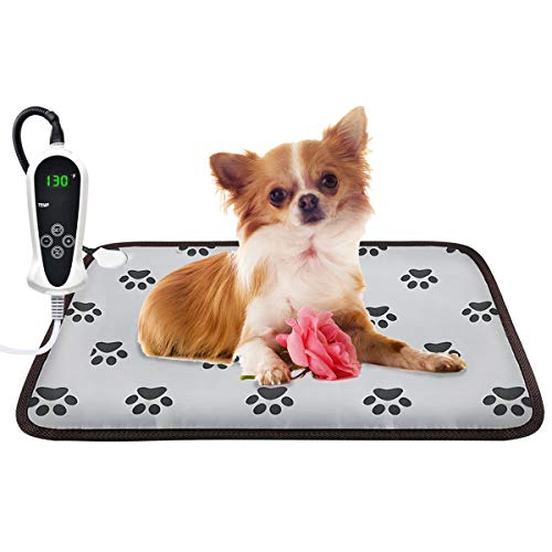EACHON Heating Pad for Dogs Cats Electric Heated Pet Beds Mat with Timer Warming Pet Mats Safety Dog House Heated Waterproof Heated Dog Cat Blanket Heated Bed Pad Mat wifh Free pet Comb (M 2317in)