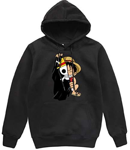 POYUT One Piece Anime Hoodie Pullover Printed Sweatshirt Costume Clothing Unisex Black, Small