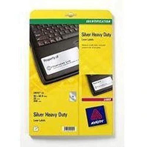 Avery L6012-20 Etichette adesive in poliestere argento, 96x50.8mm, 10 etichette per confezione, confezione da 20 fogli, 200 etichette per confezioni, stampanti laser