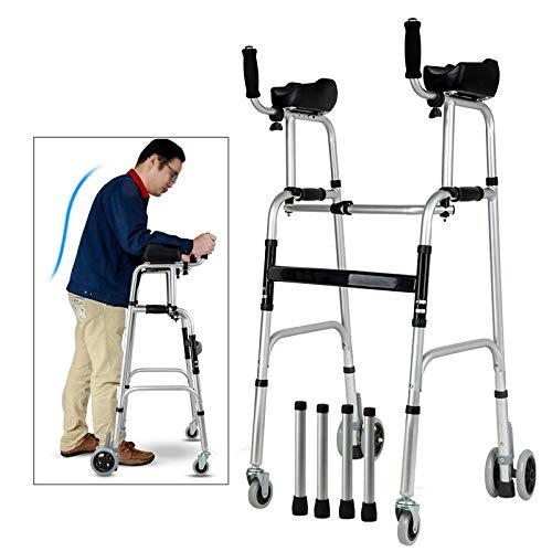 ZAQI Andador Andadores para Ancianos Andador erguido con reposabrazos, Andador de 4 Ruedas de Altura Ajustable, Adultos Mayores Altos Personas con discapacidad (Color : Without Seat)