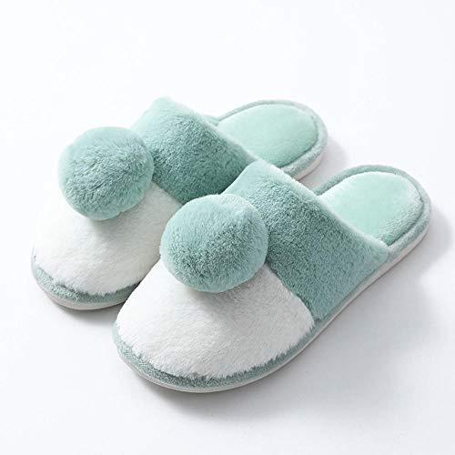 Nwarmsouth Invierno Memory Foam Casa Zapatos,Zapatos de algodón Lindos para el hogar, Zapatillas de Lana de Suela Gruesa de Dibujos Animados-Verde_38-39,Zapatillas de Hombre Durables y cómodas