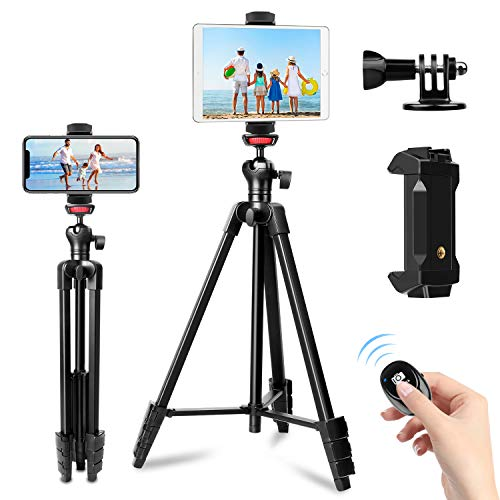 "Phone Tripod, 57"" Tripod for iPhone iPad Tablet Tripod Cell Phone Tripod with Remote Shutter, Cell Phone/Tablet Holder Perfect for Video Recording/Selfies/Live Stream/Vlogging"
