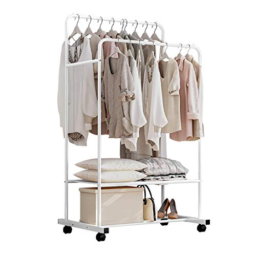 Isyunen Kleiderständer, Garderobenständer auf Rollen, mit 2 Kleiderstangen, 2 Ablage für Boxen, bis 50 kg belastbar, Weiß