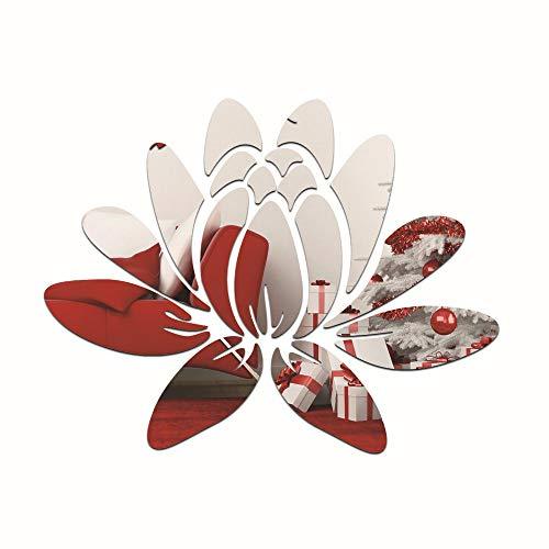 Tafel houlian winkel Driedimensionale Spiegel Muurstickers Slaapkamer Woonkamer Wanddecoratie Lotus Spiegel Stickers Met Punten Dubbelzijdige Lijm