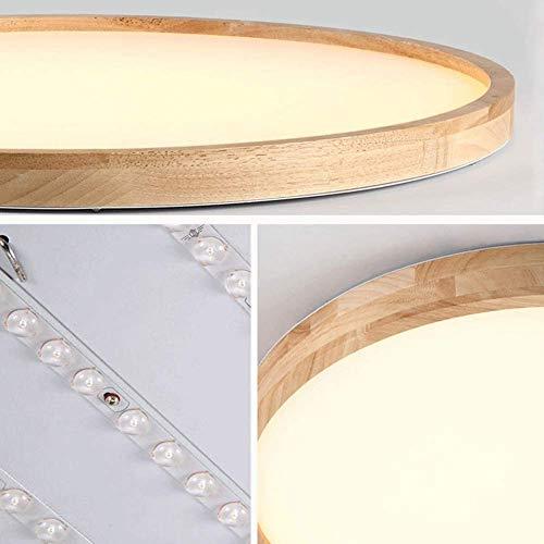 AISHANG Techo Circular Delgado LED Regulable con Control Remoto, Pantalla acrílica Nice Woody, 1200 lúmenes, IP44, Adecuado para baño Familiar (12 W y Oslash; 30 cm)