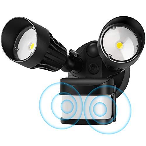 CINOTON 36W LED Flood Light Motion Sensor Light Outdoor, Adjustable Dual-Head Dusk to Dawn Security Light, IP65 Waterproof, 3000 Lumens, 5000K, Upgrade Double Motion Sensor, Black