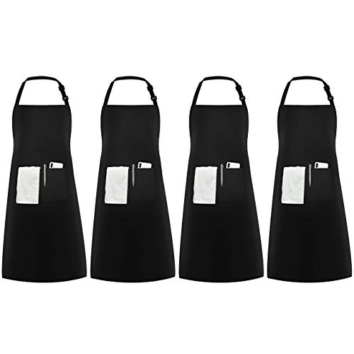 InnoGear 4 Packs Apron, Unisex Adjustable Apron with Pockets for Home Kitchen Cooking, Restaurant,...