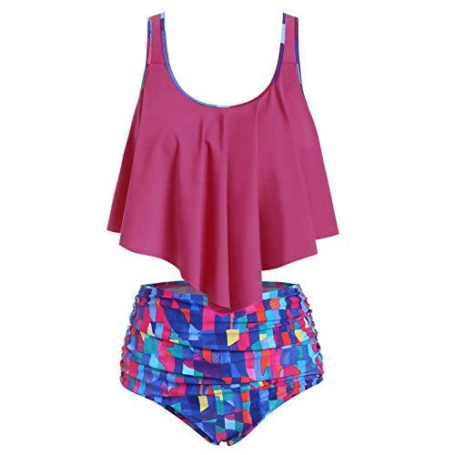 IFOUNDYOU Damen Badeanzug Rüschen Hals Hängen Bikini Sets Zweiteilige Bademode mit Hoher Taille Strandkleidung