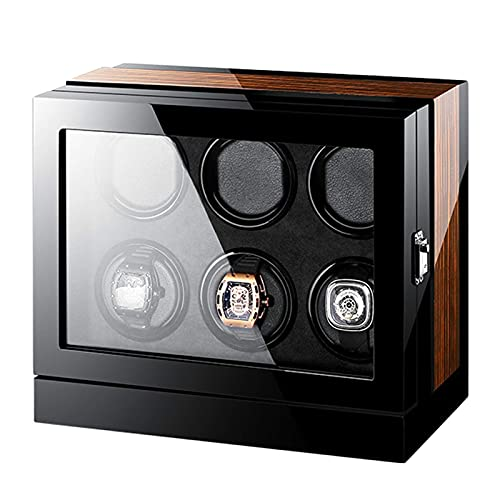 WXDP Automatic watch winder,6 LCD with Touch Panel Display Screen with Super Quiet Motor Wood Shell Piano Finish 5 Rotation Mode Powered By Motor with Flex