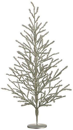 40 Inch Tinsel Christ mas Tree Antique Silver - 3.33 Foot Tinsel Pine Tree
