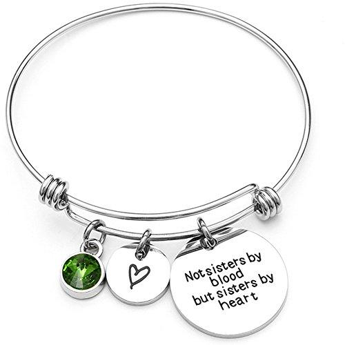 Jude Jewelers - Pulsera Ajustable de Acero Inoxidable con Piedra Natal para Hermanas y Mejores Amigas