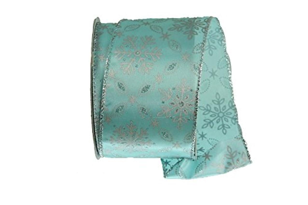 Renaissance 2000 17477 Satin Glitter Snowflake Fabric Ribbon, Teal/Silver